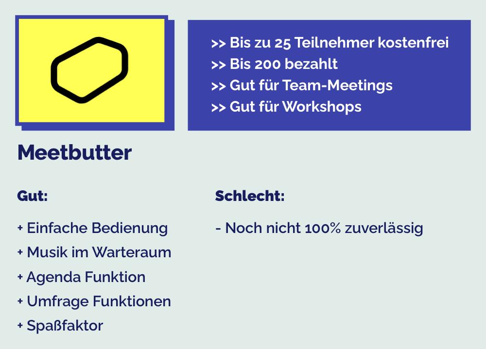 Meetbutter ist eine Zoom Alternative für Online Team Meetings